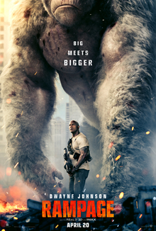 Rampage (gene-edited beasts go Kong) (movie trailer).