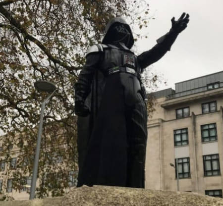 Darth Vader appears on empty statue plinth in Bristol, UK.