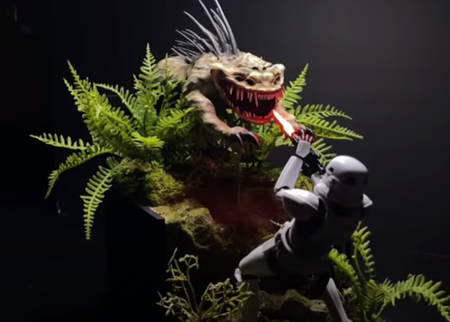 Stormtrooper vs. Nexu model diorama tutorial (video).
