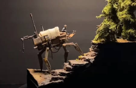 Go steampunk, young man, with the mech-wagon (model-making video).